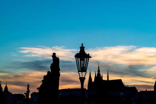 Prague night silhouette. Prague panorama during sunset