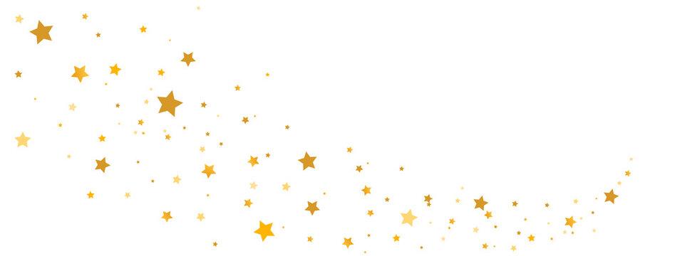 Golden stars composition on white background. Star trail shape. Glitter elegant design elements. Gold shooting stars. Magic decoration. Christmas texture. Vector illustration