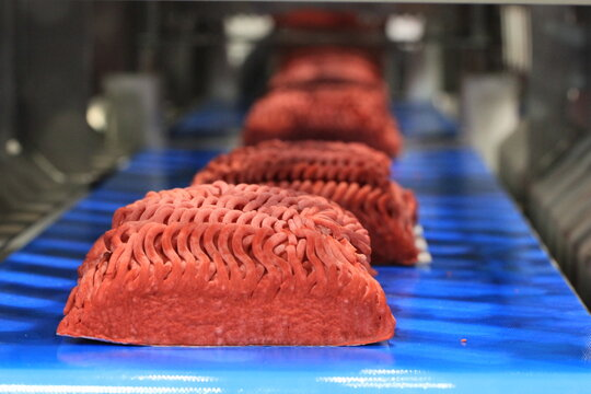 meat on the packaging line