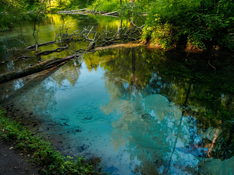 The most famous source of natural mineral water, bubbling wellspring. Green welspring in Mari El, Russia
