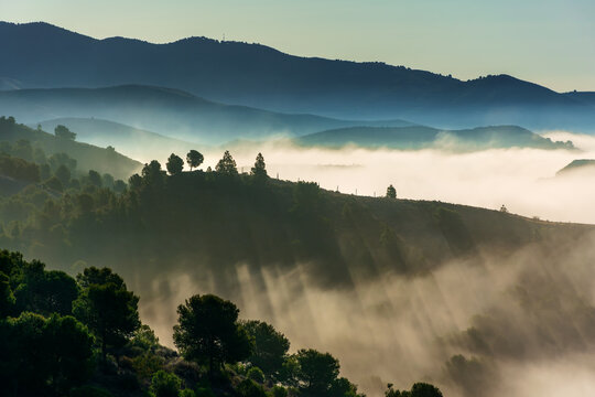 Low clouds moving between the mountains and creating a beautiful landscape with fog between the trees.