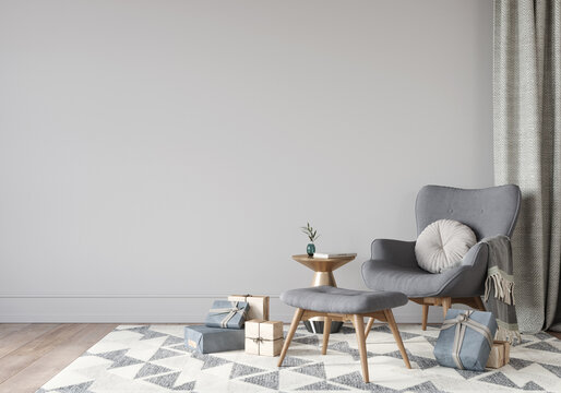 Festive interior with grey armchair and gifts