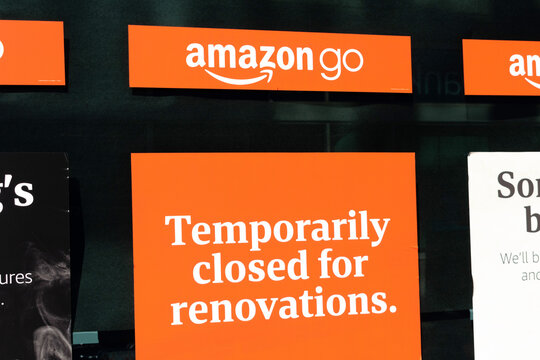 Amazon Go sign and location advertisement on cashless convenience store temporarily closed for renovation. Amazon Go is operated by operated by Amazon.com - San Francisco, California, USA - 2020