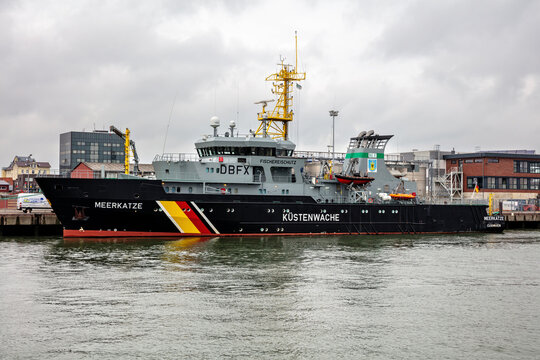 CUXHAVEN, GERMANY - OCTOBER 26, 2020: German fishery protection vessel MEERKATZE in the port of Cuxhaven.