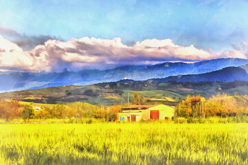 Beautiful landscape of Mazandaran Province colorful painting