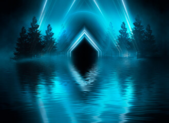 Fotomurales - Futuristic night landscape with abstract landscape and island, moonlight, shine. Dark natural scene with reflection of light in the water, neon blue light.  3d illustration