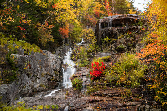 Beautiful waterfall in a deciduous forest in autumn. Beautiful fall foliage.