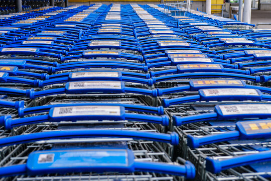 Carts in a closed IKEA store due to coronavirus quarantine - Moscow, Russia, 03 23 2020
