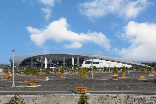 INGLEWOOD, CALIFORNIA - 10 NOV 2020 - SoFi Stadium is a sports stadium and entertainment complex currently hosting the Los Angeles Rams and Los Angeles Chargers of the NFL.