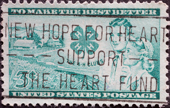 USA - Circa 1952 : a postage stamp printed in the US showing to honor the 4-H Club movement. club symbol. Text: to make the best better
