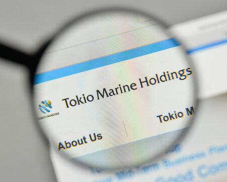 Milan, Italy - November 1, 2017: Tokio Marine Holdings logo on the website homepage.