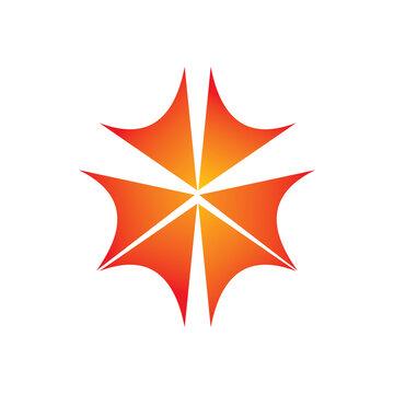 sun flower weed leaf logo design