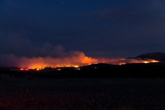 Night photo of raging wildfire in Colorado, USA