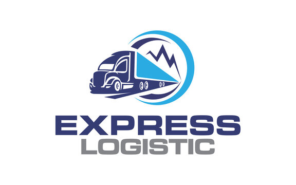 Illustration logistics and express delivery company logo design template