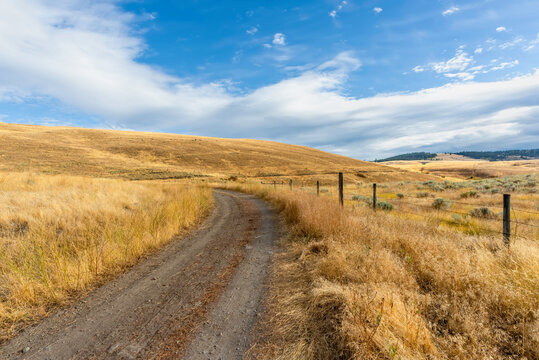 Country, dirt road between fields with yellow grass, near a fence with barbed wire to the hill