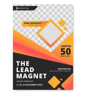 Workshop online class seminar vector poster template black orange color, poster for internet marketer event