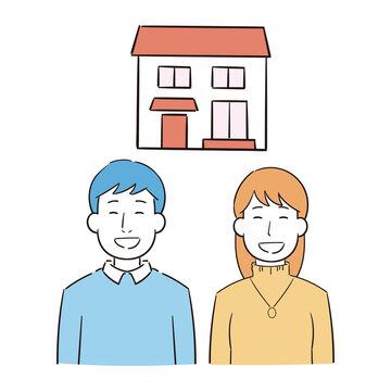 家を購入する夫婦のイラスト