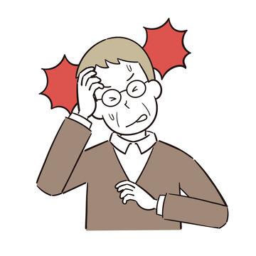 激しい頭痛に苦しむ高齢男性のイラスト