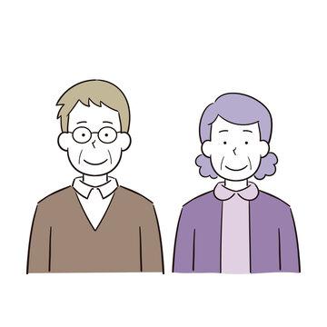 2人で並ぶ笑顔の老夫婦のイラスト