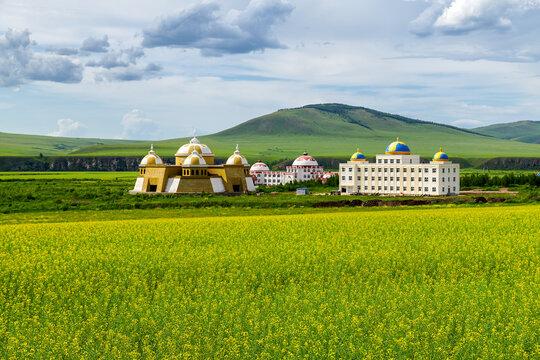 The beautiful buildings on the summer grassland of Huunbuir.