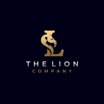 Letter L Lion Head, Elegant Luxury Logo Design Vector