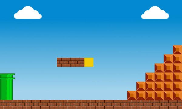 Illustration scene of famous old arcade video game, Super Mario Bros, editorial content