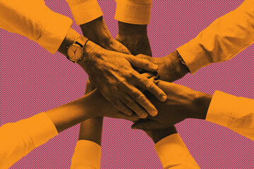 Diverse business teamwork stacking hands