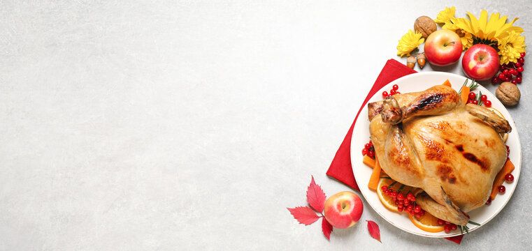 Happy Thanksgiving Day, banner design. Traditional cooked turkey and autumn decor on light table, flat lay with space for text