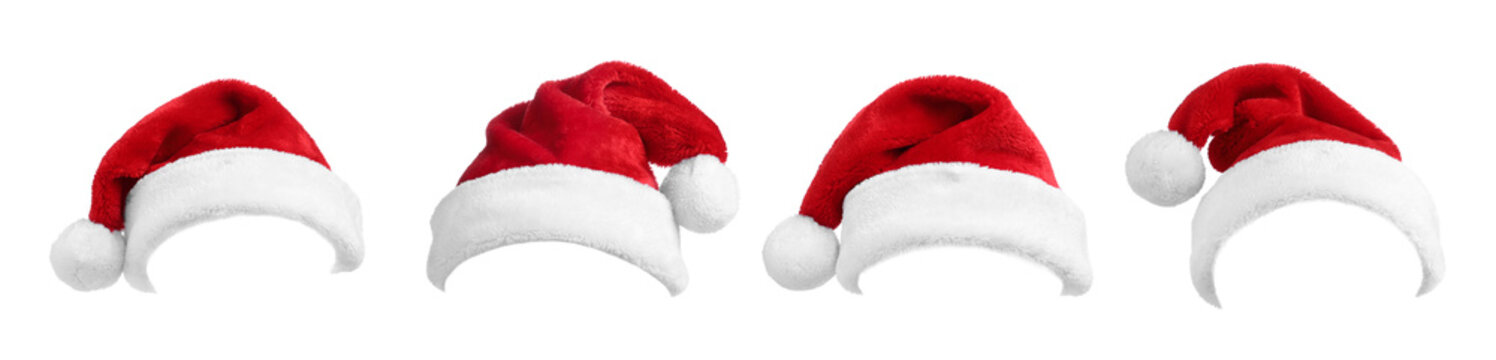Set of red Santa hats on white background. Banner design