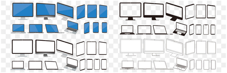 Obraz set of pc laptop smartphone tablet vector illustration - fototapety do salonu