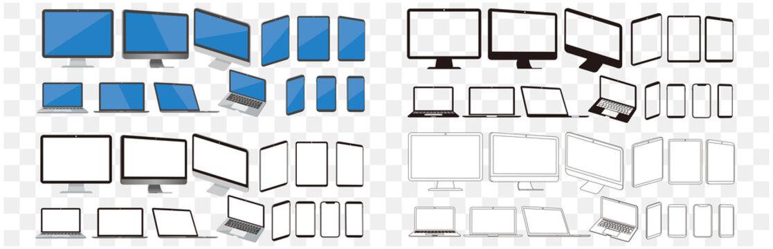 set of pc laptop smartphone tablet vector illustration