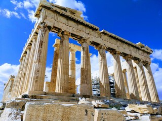 ancient historic greek marble building with columns at Athens, Greece