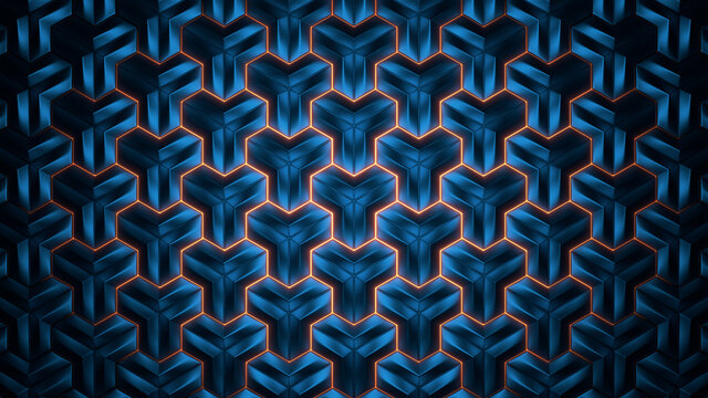 Abstract geometric background. Abstract blue polygon in rays of light. 3d rendering.