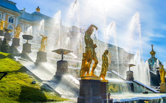 View of the fountain Grand Cascade in Peterhof, St. Petersburg, Russia