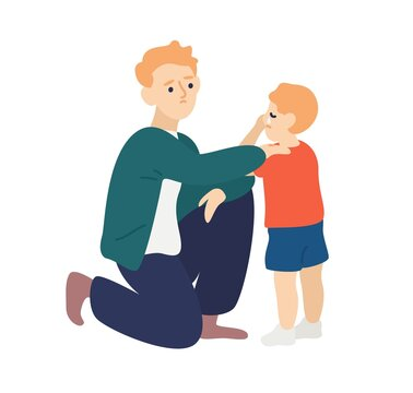 Parent hug and soothe crying child. Father empathize and calming down his son. Dad wiping tears away from kids face. Flat vector cartoon illustration of family support or parenting isolated on white