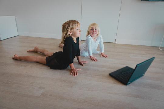 Ballet or gymastics lesson online. Remote learning for kids.