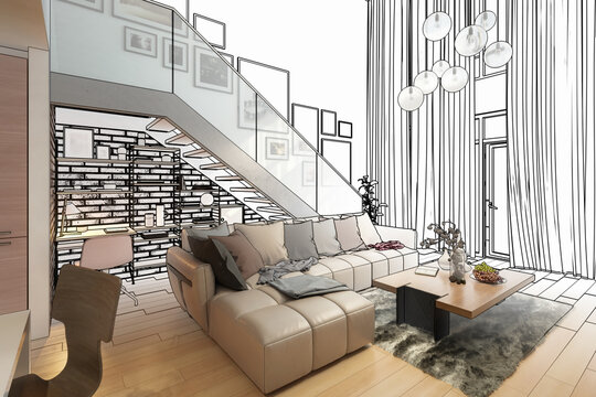 Contemporary Penthouse Mansarde with Stairs (draft) - 3d visualization
