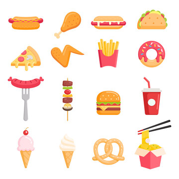 Fast food color icons vector illustrations