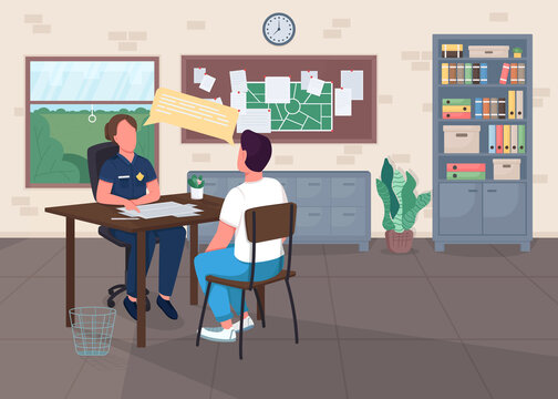 Police office flat color vector illustration. Legal department. Cop interview victim for report. Police officer with witness 2D cartoon characters with center interior on background