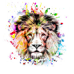 lion head isolated on color background