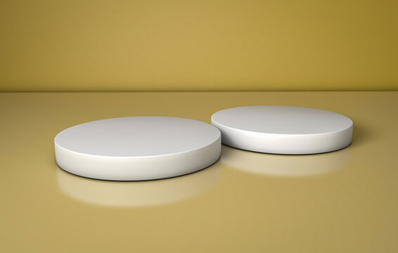 3D Illustration of two round pedestals with one in foreground and the other in the background on a golden surface. Ideal for showcasing products