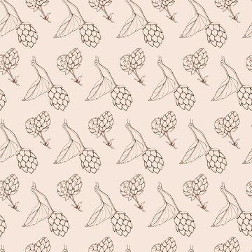 seamless beige retro pattern hops leaves and cones