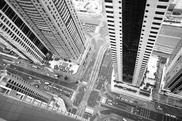 skyscrapers in dubai photographed from above