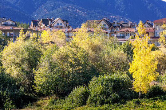 Bansko, Bulgaria town view with houses and colorful yellow autumn trees