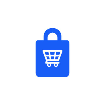 Shopping bags and trolley icon. Purchase symbol. Sign for application and website decoration. Vector graphics.
