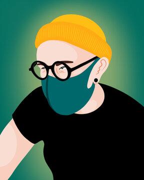 Mann mit Maske   Corona   Covid 19   Hygiene   Gesundheit   2020