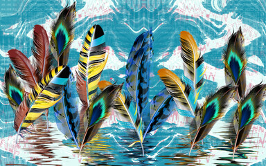 Large bright multicolored feathers on an abstract background