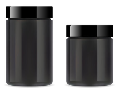 Supplement jar. Black plastic protein bottleon white background. Whey powder tube 3d vector blank. Glossy glass round cylinder can for beauty cream product. Fitness vitamin package