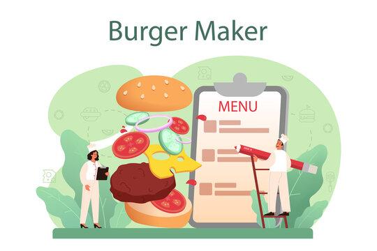 Fast food, burger house concept. Chef cook tasty hamburger