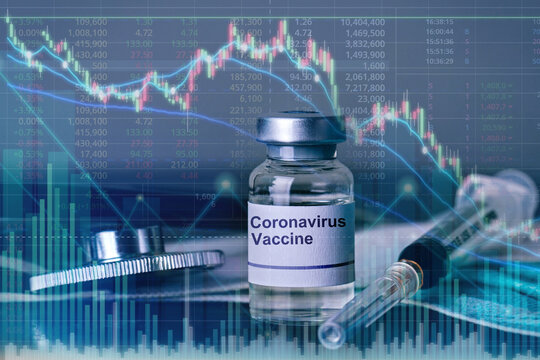 double exposure of graph representing the stock market growth caused by coronavirus vaccine discovery.